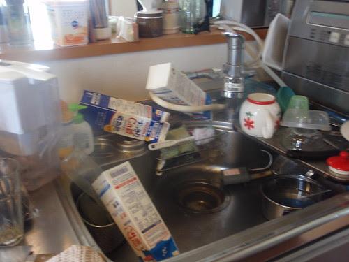 messy sink