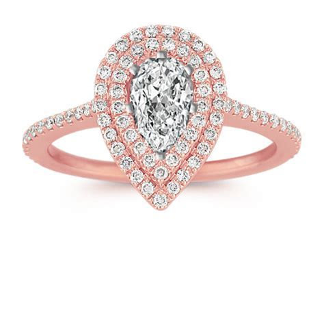 Pear Shaped Double Halo Diamond Engagement Ring   Shane Co.