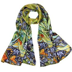 "WEARABLE ART!! VAN GOGH'S IRISES.... 100% Luxurious Charmeuse Silk Van Gogh's ""Irises"" Long Scarf Shawl: Clothing"