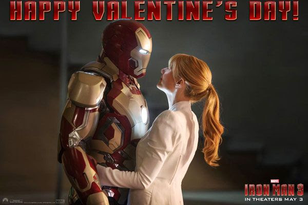 Iron Man (a.k.a. Tony Stark, a.k.a. Robert Downey Jr.) shares a moment with Pepper Potts (Gwyneth Paltrow) in IRON MAN 3.