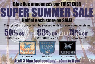 Summer 2010 Blue Bee sale