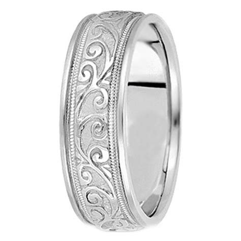 Wedding Band   Platinum Engraved Leaves Milligrained edges
