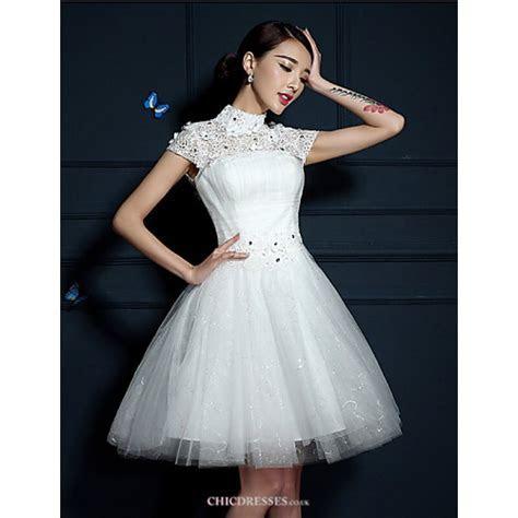A line Short/Mini Wedding Dress   High Neck Tulle,Cheap Uk