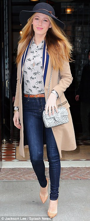 Stepping out in style: Blake Lively was spotted leaving a New York hotel on Friday