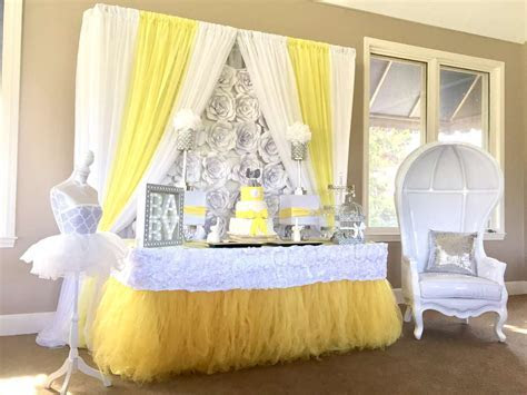 Yellow, white, silver Baby Shower Party Ideas   Photo 7 of