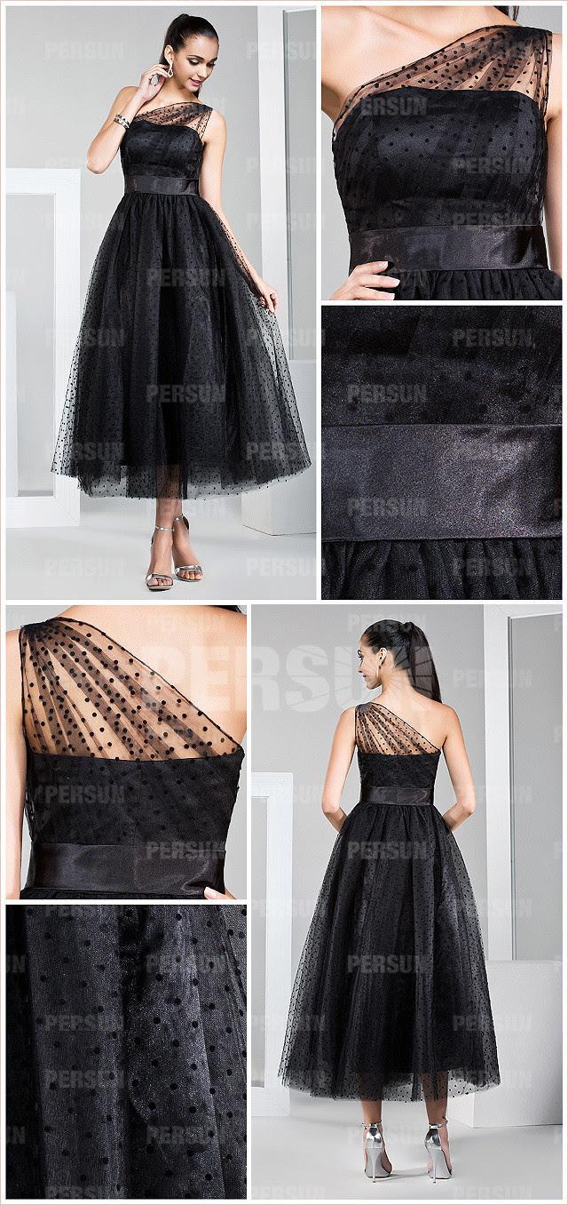 günstig elegantes a-linie schwarzes ein schulter abendkleid