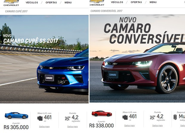 Preços da nova geração do Chevrolet Camaro (Foto: Reprodução)