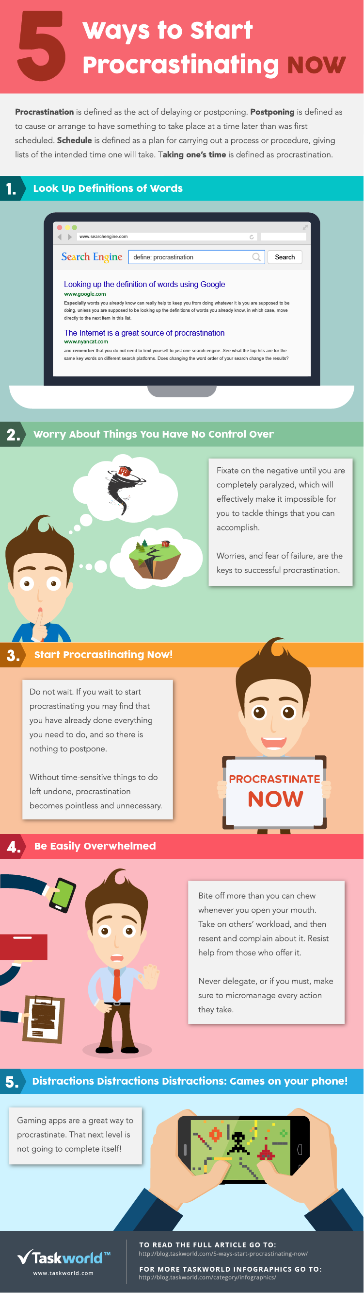 Infographic: 5 Ways To Procrastinating Now