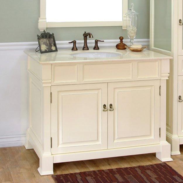 "Bellaterra 42"" Single Sink Bathroom Vanity - Cream White ..."