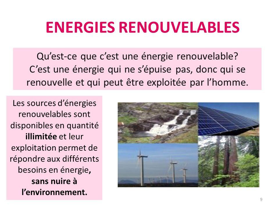 Resultado de imagen de les énergie renouvelable
