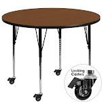 Flash Furniture XU-A48-RND-OAK-H-A-CAS-GG Mobile 48 in. Round Oak High Pressure Laminate Activity Table - Standard Height Adjustable Legs