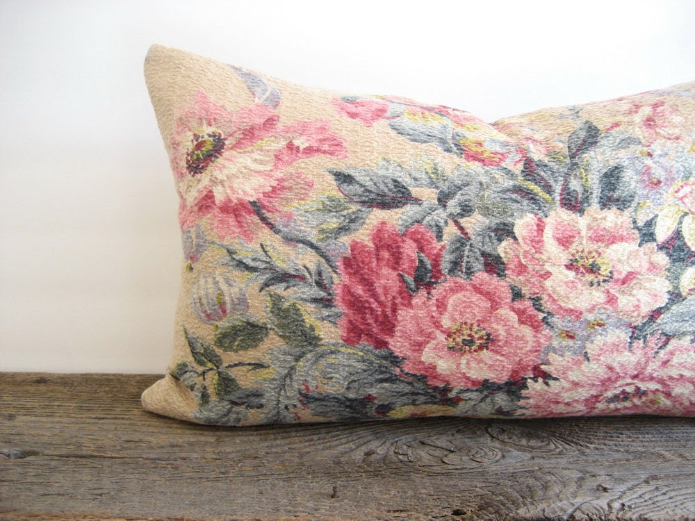 Lumbar Pillow Cover Barkcloth Shabby Floral Bouquet 12 x 20 - theCottageWorkroom
