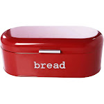Large Bread Box for Kitchen Counter - Bread Bin Storage Container With Lid - Metal Vintage Retro Design for Loaves, Sliced Bread, Pastries, Red, 17 x