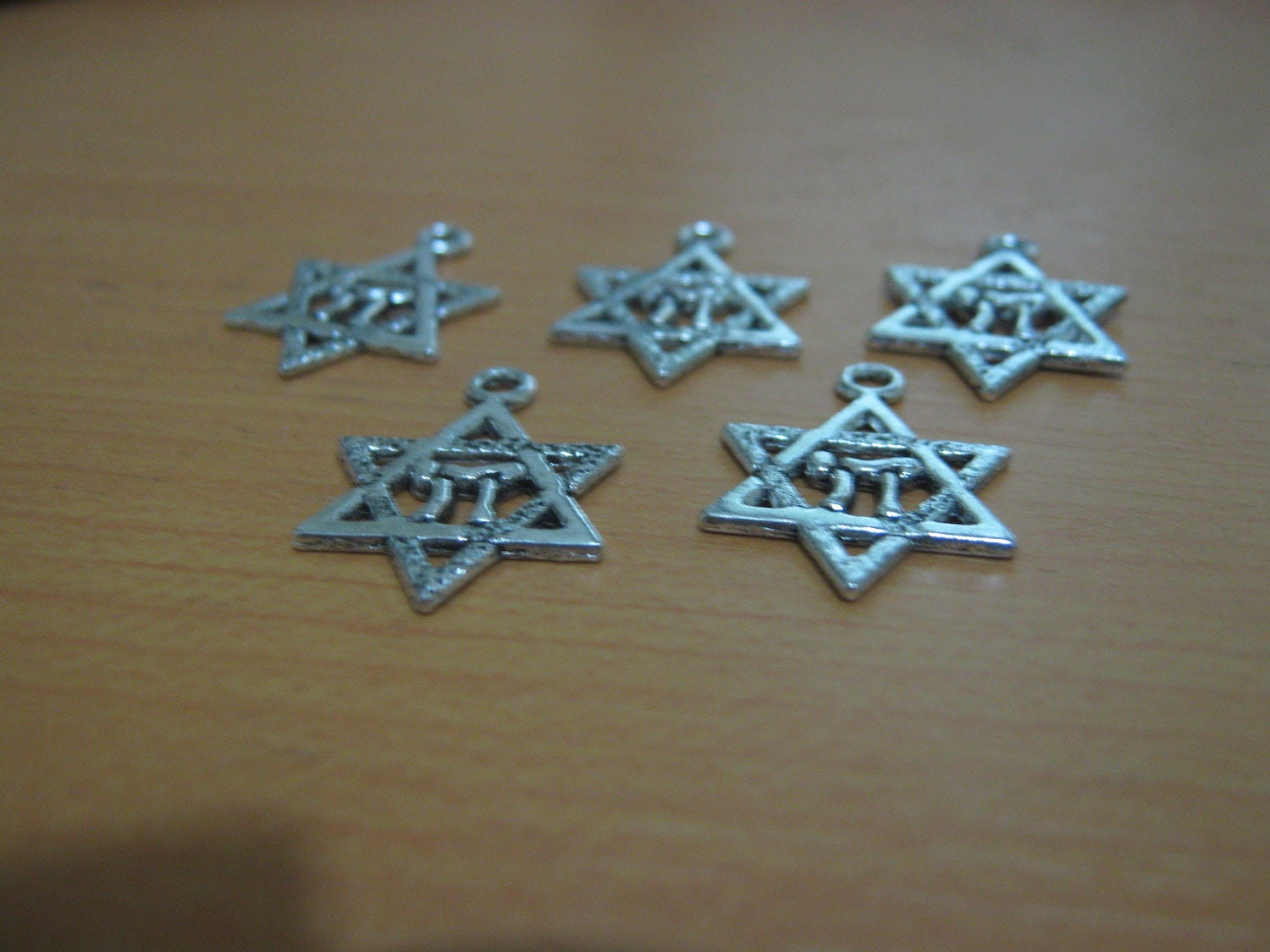 "Star of David Drops - silver color with ""chai"" - Package of ten"