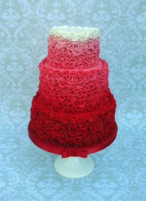 Red Ombre Ruffle Wedding Cake   CakeCentral.com