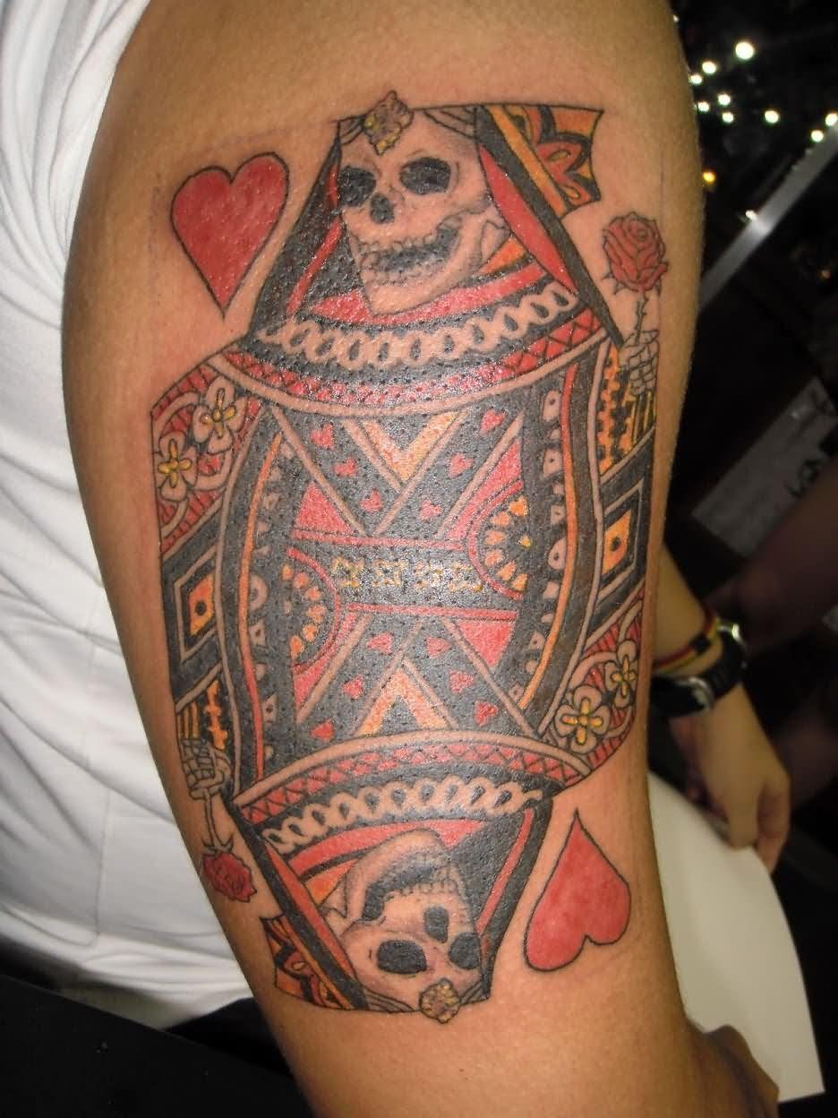 Queen Skull Tattoo On Right Half Sleeve