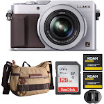 Panasonic LUMIX LX100 Integrated Leica DC Lens Camera (Silver) with 128GB SD Card, Battery, Charger, and Case Bundle