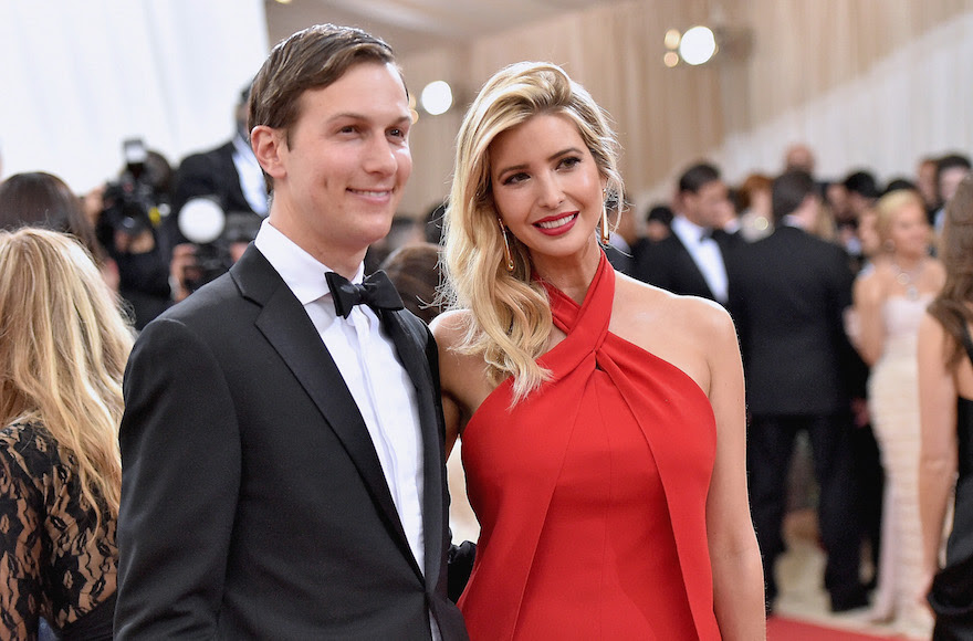 "Jared Kushner and wife Ivanka Trump attending the ""Manus x Machina: Fashion In An Age Of Technology"" Costume Institute Gala at Metropolitan Museum of Art in New York City, May 2, 2016. (Mike Coppola/Getty Images for People.com, via JTA)"