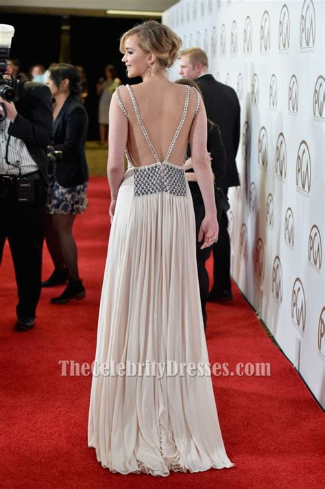 jennifer lawrence sexy evening dress  producers guild