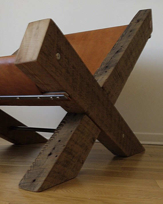 Reclaimed Wood and Leather Lounge Chair by TicinoDesign on ...