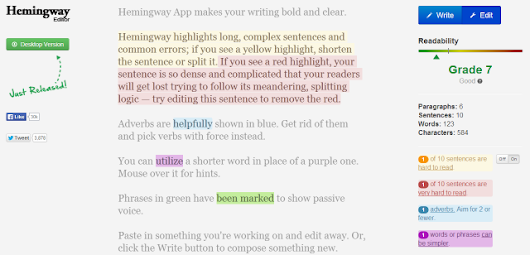 Hemingway, A Simple Editing App That Highlights Common Errors and Suggests Alternatives