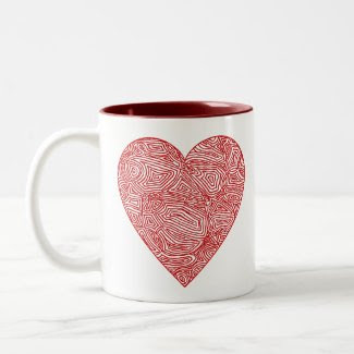 Scribbleprint Heart mug