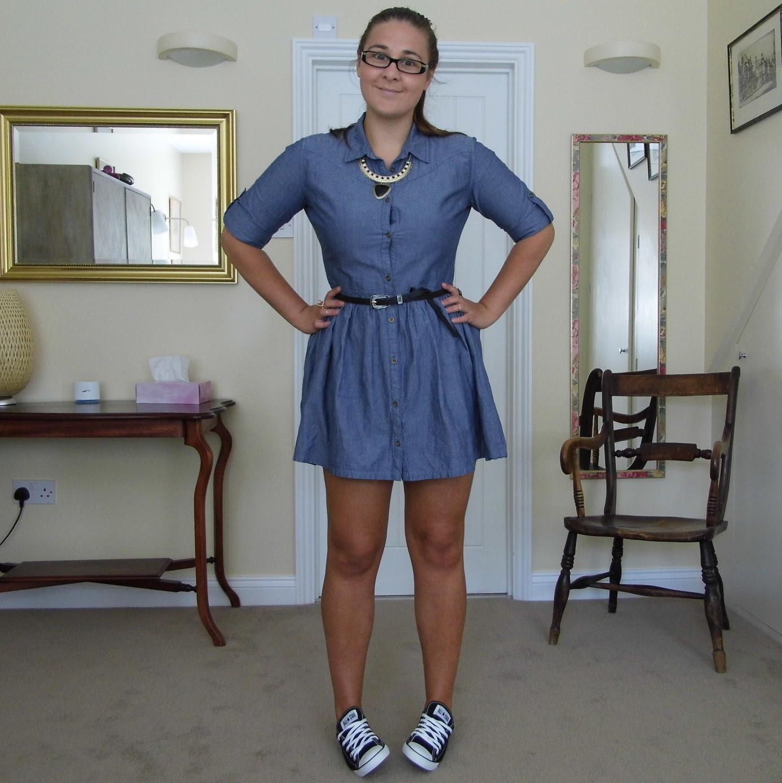 Chambray Denim Shirt Dress & Converse 1
