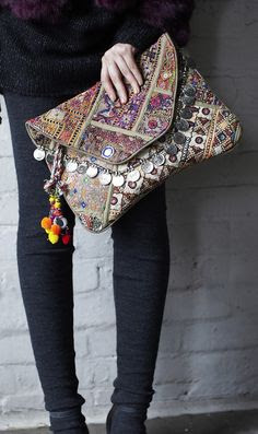 Antik Batik embellished oversized clutch bag, love the coin detail