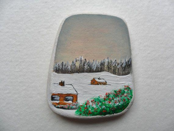 Miniature art  Hand painted Alpine landscape by Alienstoatdesigns, $15.00