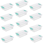 Sterilite Small Clip Box Clear Storage Tote Container with Latching Lid, 12 Pack by VM Express