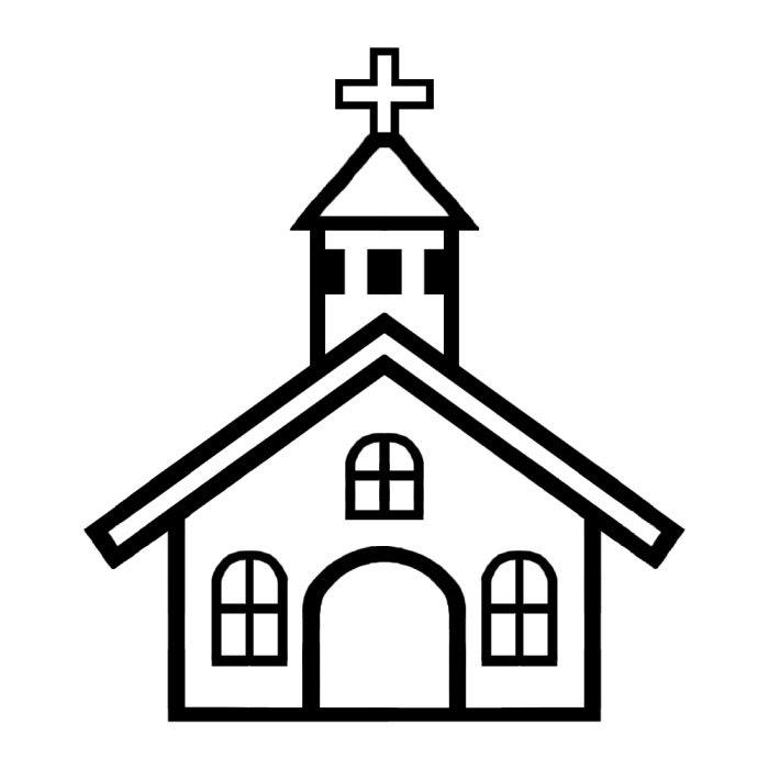 教会白黒建物10乗り物建物無料イラスト素材