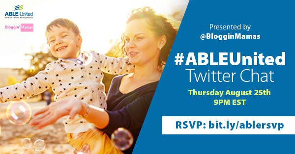 ABLE United Twitter Chat 8-25-16 at 9p ET. RSVP bit.ly/ablersvp