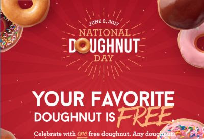Krispy Kreme Free Doughnut Today, June 2, 2017 for National​ Doughnut Day – Canada and US