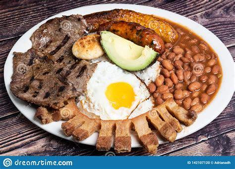 colombian bandeja paisa stock photo image  maduro