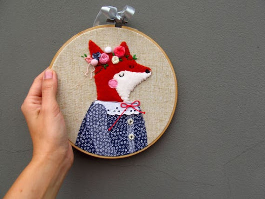 Embroidery Hoop Art Lady Fox Embroidery for Kids Kids Decor