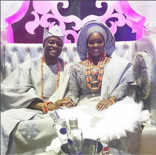tOOLZ tOLU AND HUSBAND TUNDE DEMUREN ON THEIR WEDDING DAY