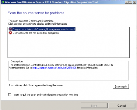 Small Business Server 2011 Migration preparation tool reports 2 errors despite the fix been applied   - Peter Bursky's Website