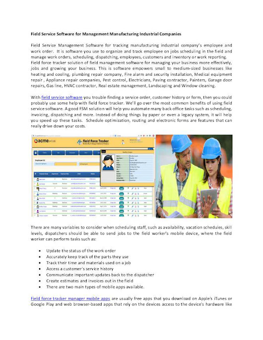Field Service Software for Management Manufacturing Industrial Companies
