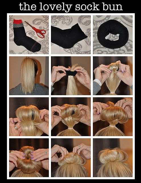 Sock Bun    Review: This works unbelievably well. I had very long hair a few months ago, and got many compliments at work about the new hairstyle. I could never get a regular bun to stay in and this was so cool.