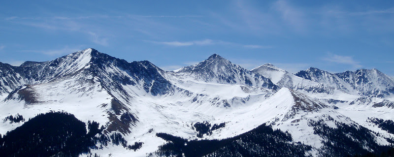 Tenmile Range, Colorado, left to right:Crystal Peak, 13,852 feet, Colorado's 82nd highest peakPacific Peak, 13,950 feet, 61st tallest  peak in ColoradoAtlantic Peak, 13,841 feet, Colorado's 86th highest peakFletcher Mountain, 13,951 feet, the 59th tallest peak in ColoradoDrift Peak, 13,900 feet, not ranked because there is less than a 300 foot drop in the saddle between Drift Peak and Fletcher Mountain