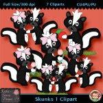 Skunks 1 Clipart - CU