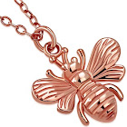 925 Sterling Silver Rose Gold-Tone Wasp Bee Pendant Necklace