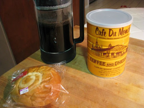 I finally tried Cafe Du Monde coffee with my favorite custard bun from the Asian market