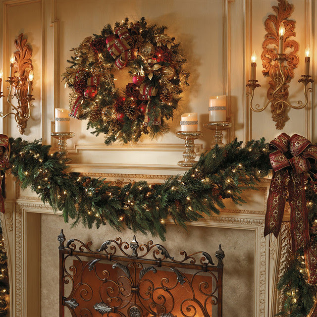 sided pre lit christmas garland 9 frontgate christmas decor