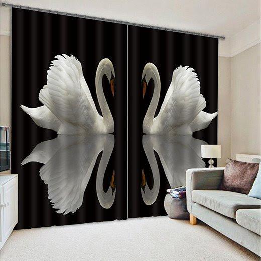 Wonderful Swan Polyester Light Blocking 3D Curtain
