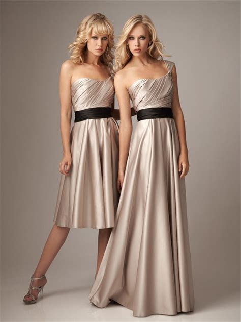 A line one strap knee length short champagne silk