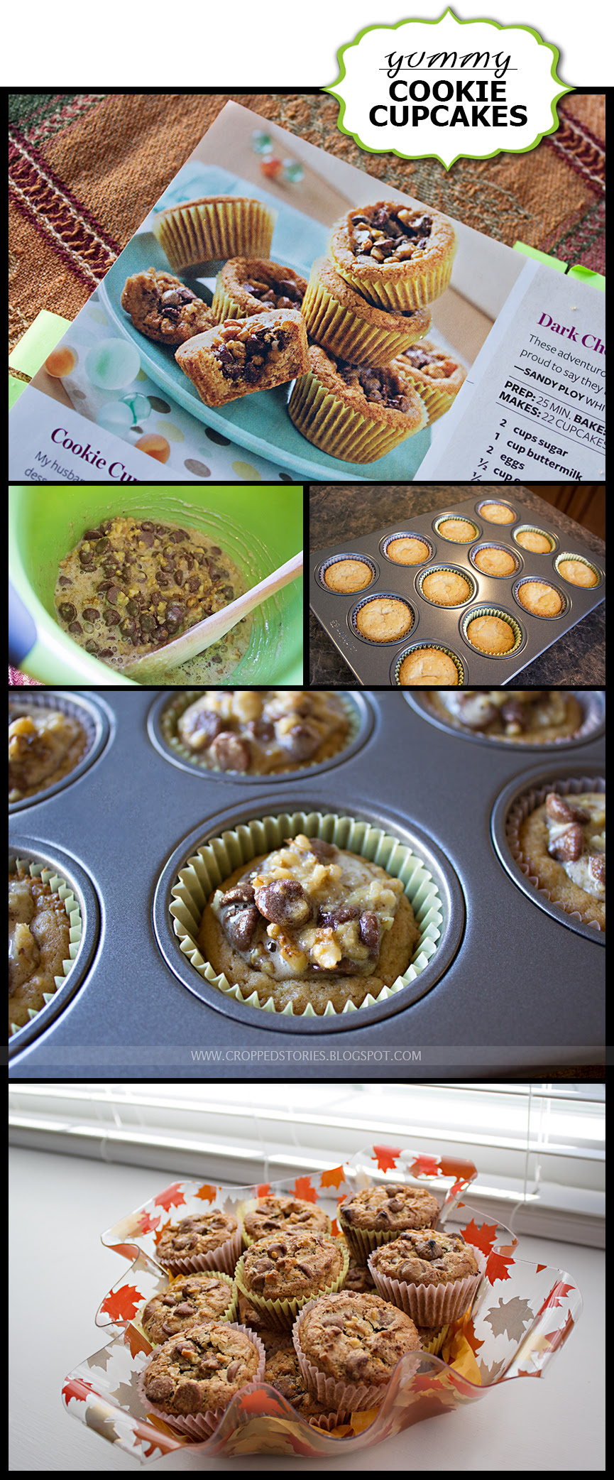 Yummy Chocolate Chip Cookie Cupcake Recipe via Cropped Stories