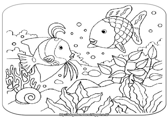 Gambar Mewarnai Pemandangan Bawah Laut Sketch Coloring Page
