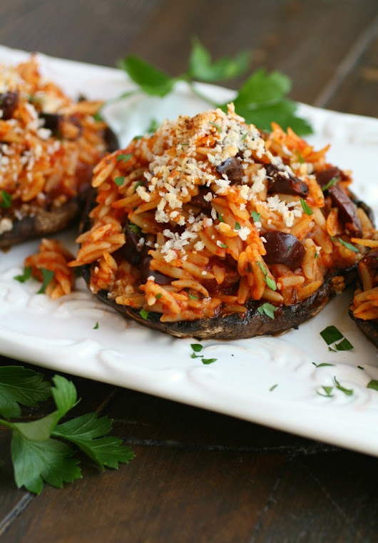 Orzo & Olive Stuffed Portobello Mushrooms