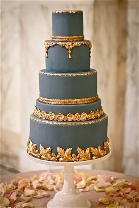 Regal navy gold wedding cake   Once Wed